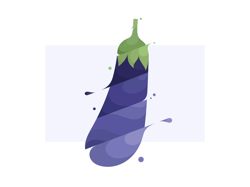 Eggplant 🍆 spill liquid water slash splash flat design flat illustration vegetable eggplant branding illustration