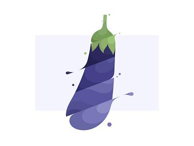 Eggplant 🍆 spill liquid water slash splash flat design flat illustration vegetable eggplant branding illustration