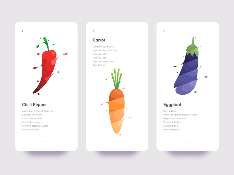 Vegetables flat illustration flat design symbol mark branding brand logo design logo designer icon eggplant carrot chilli pepper vegetable app ux ui mobile app illustration