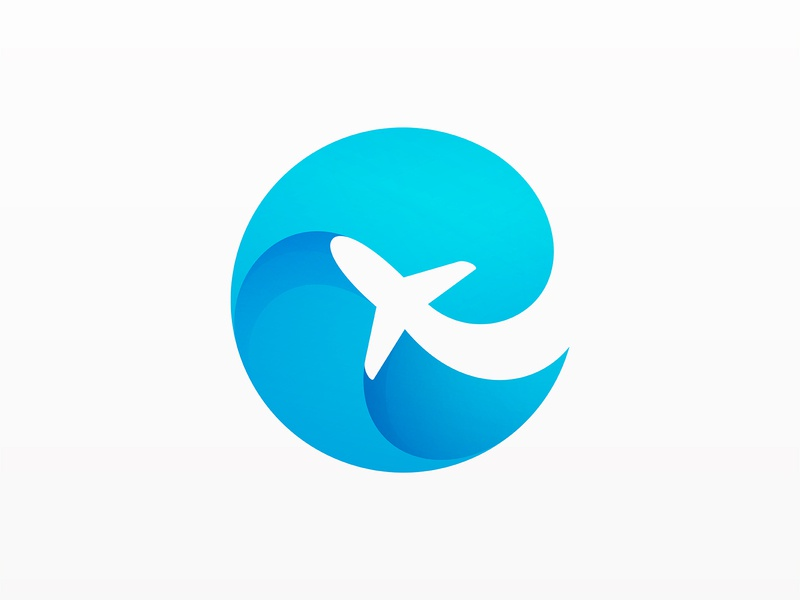 Plane + Wave wave plane branding logo
