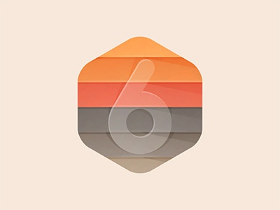 6 Layers number icon land earth logo yp © yoga perdana illustration 6 layers badge hexagon