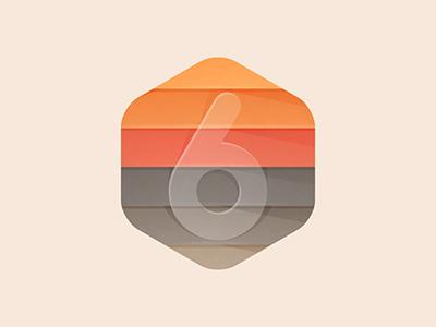 6 Layers number icon land earth logo yp © yoga perdana illustration 6 layers badge hexagon