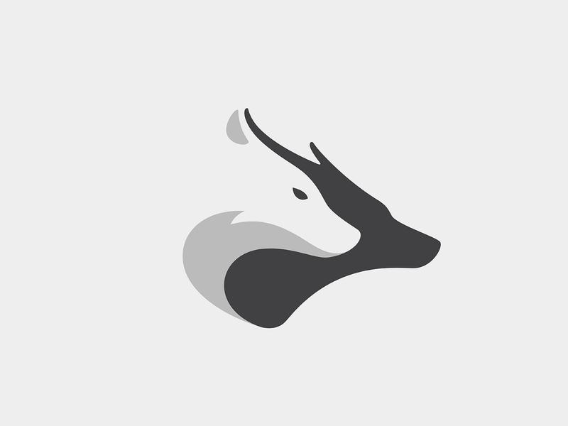 Wolf & Deer deer wolf animal branding illustration logo