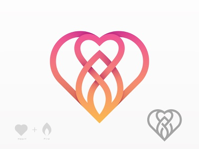 ❤️+🔥 flame fire love heart design branding logo