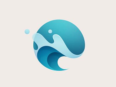 Wave nature dew drop green blue vector gradient dynamic circle aqua summer ocean splash liquid water sea wave logo branding illustration