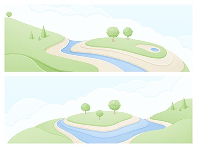 Landscape Illustration yp vector illustrator illustration contour map © yoga perdana landscape land