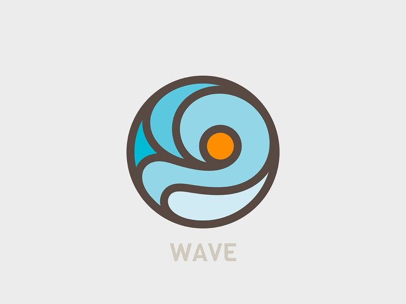 Wave sea beach sunrise sunset wave icon illustration branding logo