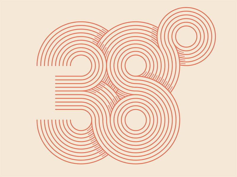 38º line art type typography degrees 38º branding © yoga perdana logo illustration vector yp