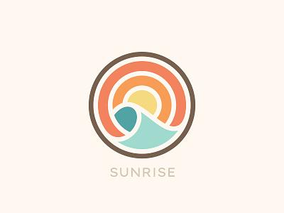 Sunrise sun wave sea logo sunrise