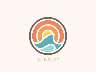 Sunrise nature water wave sea sun sunrise branding illustration