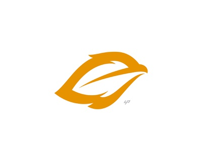 Feather Bird modern orange simple symbol icon mark eagle feather bird branding logo