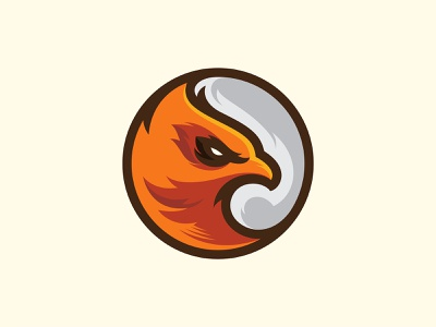 Eagle fly feather fur character mascot orange esport branding bird eagle logo