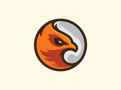 Eagle fly feather fur character mascot orange esport branding bird eagle logo