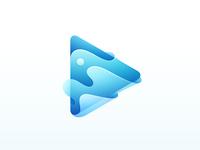 Liquid Play icon design vector branding button logo player