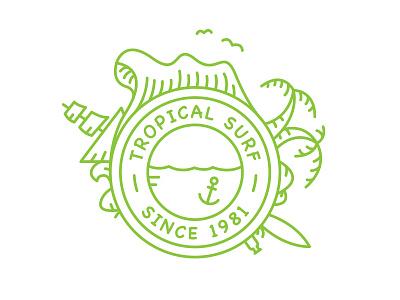 Tropical Surf Logo tropical surf wave line art mark © yoga perdana logo illustration yp island vector