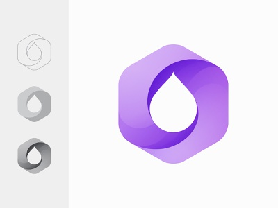 Hexadrop minimal clean balance vector simple modern gradient purple business company hexagon water drop oil branding logo