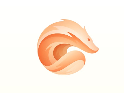 Fire fox icon cute tail wild character mascot flow app fur gradient orange circle animal logo flame fire wolf fox illustration branding