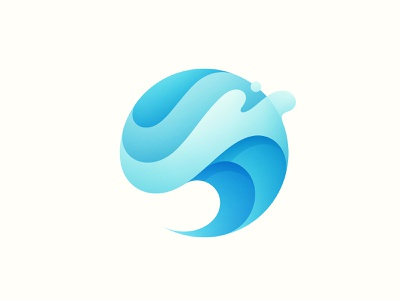 Wave Logo summer gradient modern abstract curve liquid flow circle clear drop blue splash water ocean sea vave design illustration branding logo