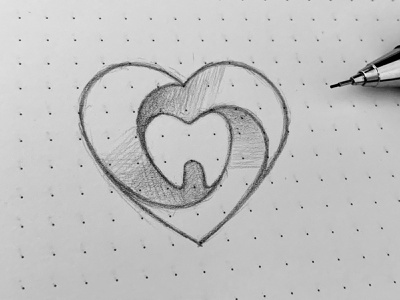 Love Dentist Logo Sketch business medicine clean hospital app healthcare teeth mouth white dentistry patient medical doctor clinic heart care love dentist branding logo