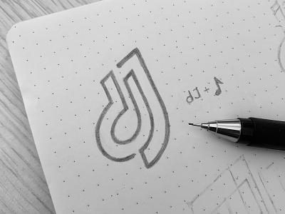 dj Logo Sketch 🎶 concert entertainment dance event festival show clubbing techno audio sound club disco dj music icon mark branding monogram sketch logo