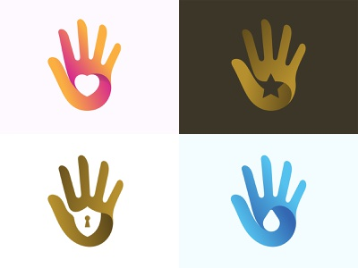 Hands icon symbol company business hand social touch finger identity brand gold water drop safe protection security star love heart logo