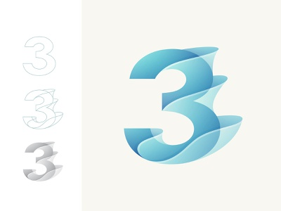 3 gradient design graphic gradient logo colorful colors color branding design brand identity brand design brand logo design logodesign logotype logos logo gradient wave 3 number branding