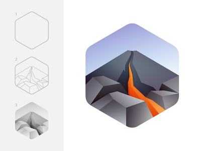 Lava logo illustration branding lava volcano mountain