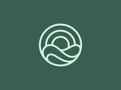 Sunrise Simple Logo flow tropical water ocean green environment eco line simple icon symbol mark sunset sea sun wave sunrise design branding logo