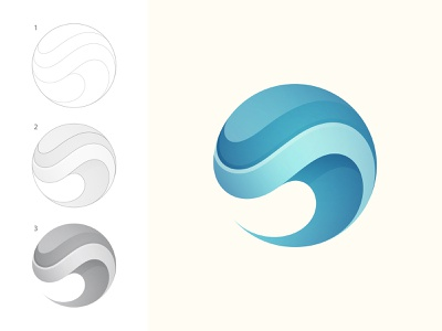 Wave Logo vector icon design illustration branding brand dynamic blue circle flow liquid ocean sea water logo wave