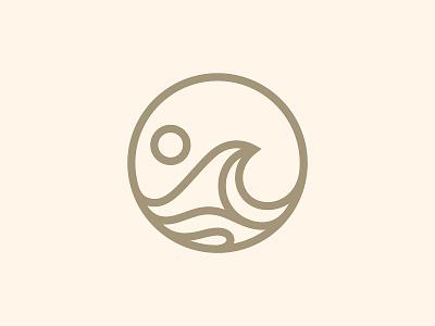 Wave Logo design graphic badge mark icon circle modern simple water sunrise sunset sea ocean beach sun outline logo branding brand wave