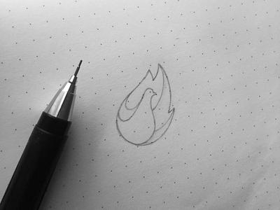Logo Sketch pigeon logo sketch yp © yoga perdana