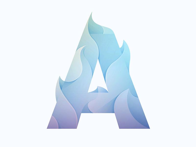 A logo gradient fire type a yp © yoga perdana