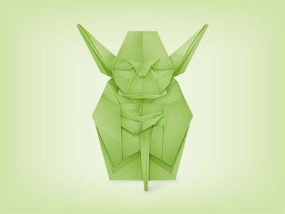 Origami Yoda starwars yoda origami star wars jedi movie character master vector grand illustrator yoga © yoga perdana paper icon star yp logo