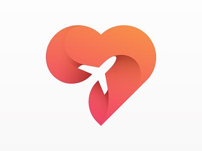 Love travel flight destination tourism traveling vacation gradient logo gradient logo design plane illustration branding icon vector travel air plane love heart yp © yoga perdana logo