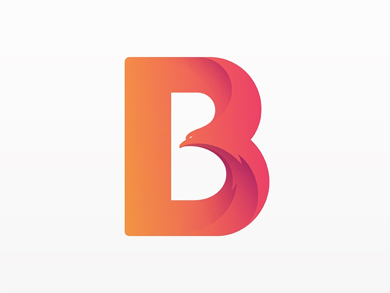 B for Bird Logo typography design eagle bird animal type logo yp © yoga perdana