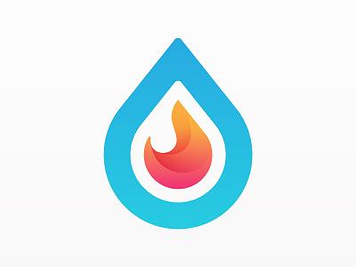 Water & Fire Logo drop water flame fire yp logo © yoga perdana