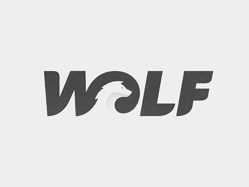 negative space wolf logo