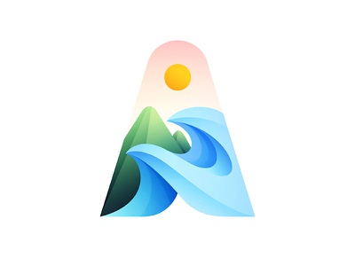 A gradient logo colorful colours colour colors color branding design brand identity brand design brand logo design logodesign logos adventure mountain gradient branding logo vector illustration