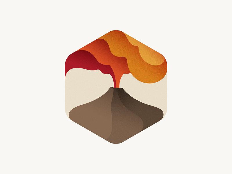 Volcano badge icon volcano branding vector illustration logo yp © yoga perdana