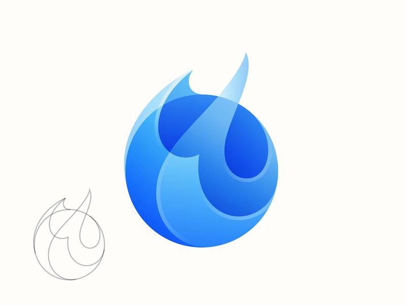 Blue Fire Logo flame blue fire illustration branding vector icon logo yp © yoga perdana