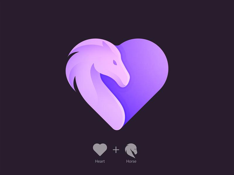 Heart + Horse Logo love heart horse illustration vector branding icon animal yp logo © yoga perdana