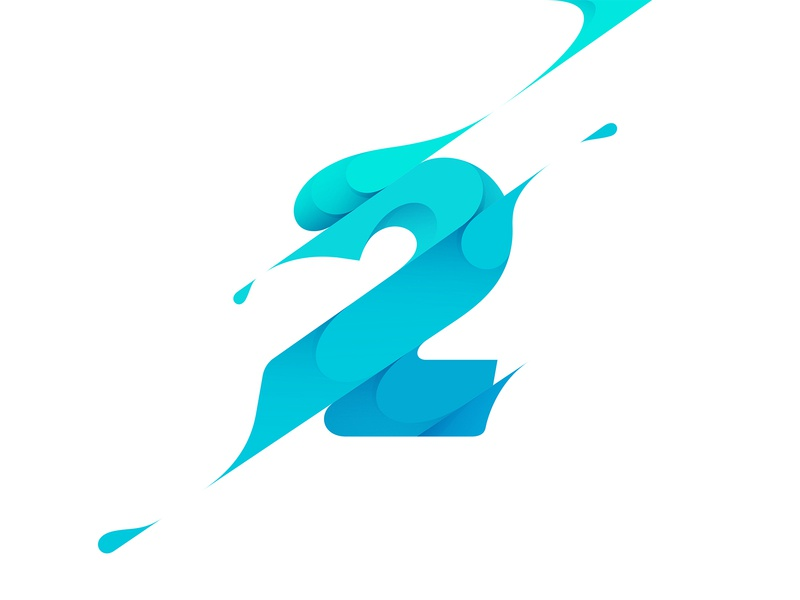 2 gradient 2 number typography branding type illustration logo © yoga perdana yp