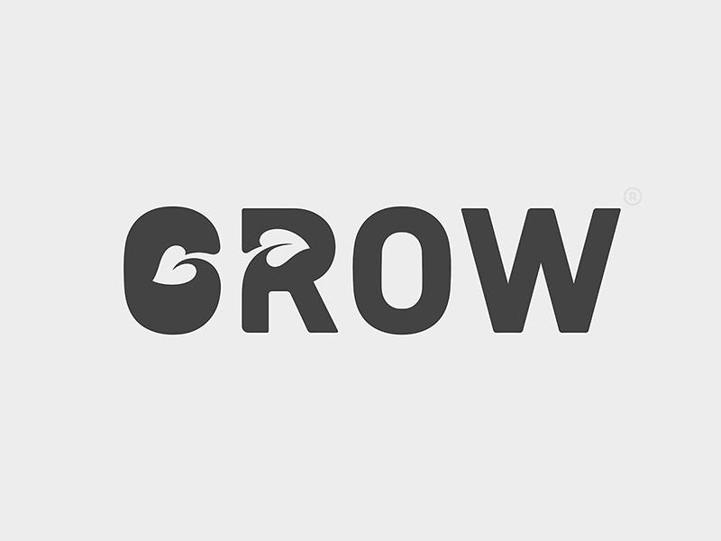 GROW typography logo design logotype grow type design design type logo © yoga perdana yp