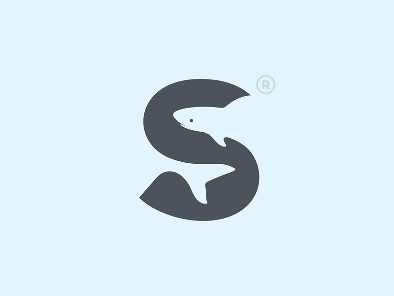 S Shark s shark branding typography mark icon animal type illustration logo © yoga perdana yp