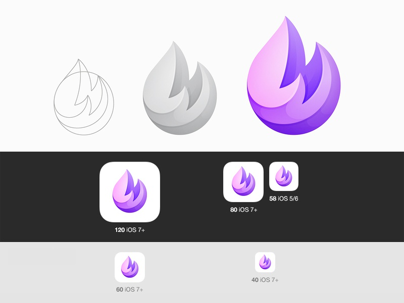 Fire Ios Icon brand flame fire logo icon © yoga perdana yp