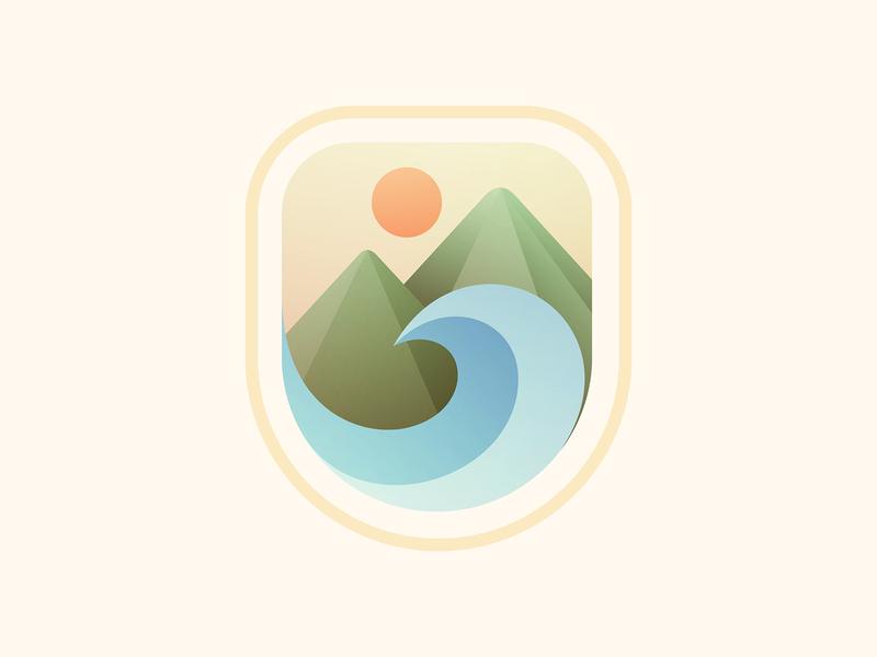 Mountain Badge badge sun mountains wave design branding vector illustration logo © yoga perdana yp