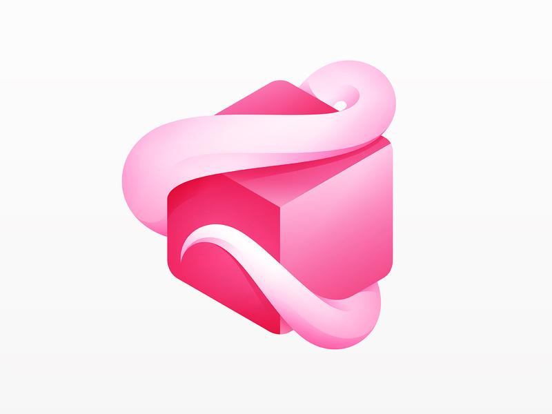 Pixel Squid Logo pink gradient square 3d tentacles octopus pixel design icon animal branding vector logo yp