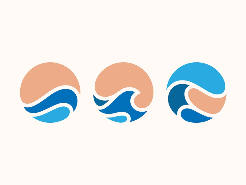 Waves wave illustration logo design icon branding yp © yoga perdana