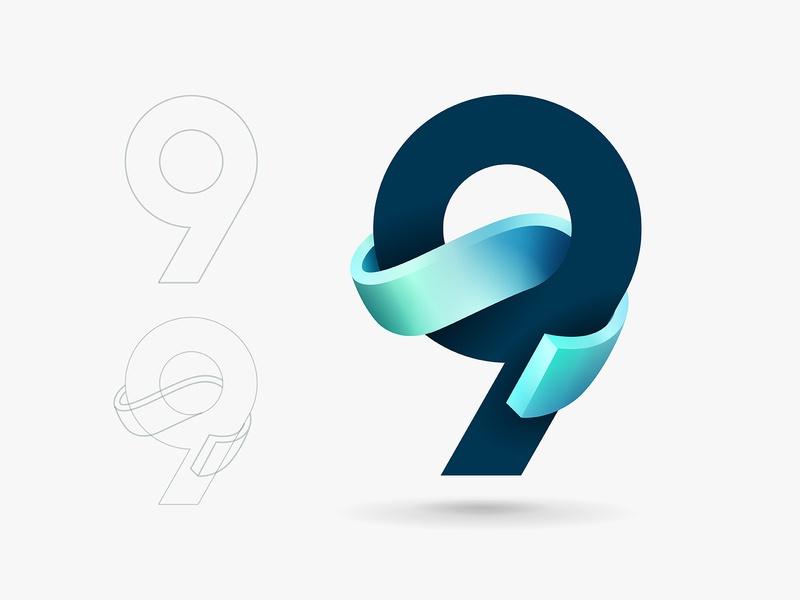 9 visual identity clean logo brand design graphic design identity logo vector symbol mark brand gradient logo modern logo simple logo logo design logo designer 9 number typography design branding logo