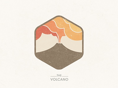 The Volcano © yoga perdana volcano fire mountain logo badge illustration icon yp earth lava texture type vector brand branding colors mark design identity hexagon